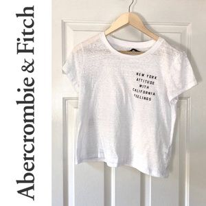 Abercrombie & Fitch White Cropped Tee- Small